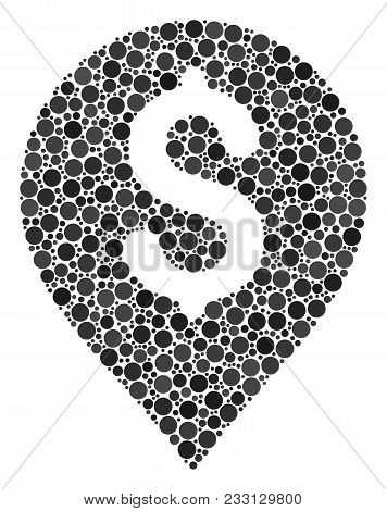 Banking Map Marker Collage Of Round Dots In Various Sizes And Color Tones. Circle Elements Are Compo