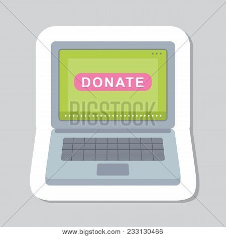 Donate Button Sticker. Help Icon Donation. Gift Charity. Isolated Support Design Sign. Contribute, C