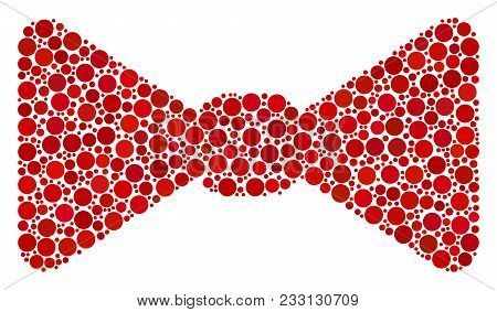 Bow Tie Mosaic Of Filled Circles In Different Sizes And Color Shades. Circle Elements Are United Int