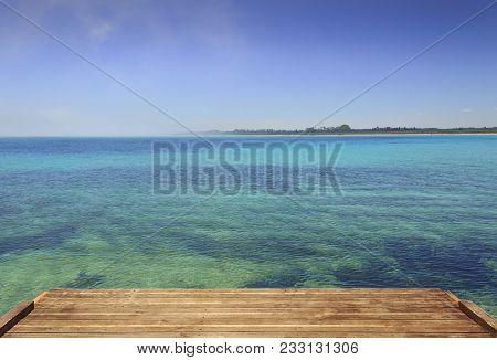 Summer Seascape,apulia Coast: Nature Reserve Of Torre Guaceto. Carovigno (brindisi) -italy- Mediterr
