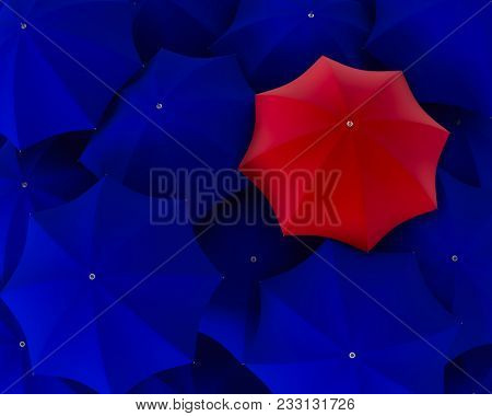 Top view of unique red umbrella standing out from the blue crowd. 3d illustration