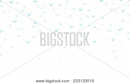 Water drop. Water fizzing bubbles texture on white background. Water droplets. Fizzy bubbles under water. Water drops. Bubbles underwater texture isolated on transparent background. Vector fizzy air. poster