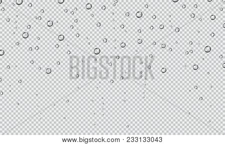 Water fizzing bubbles texture on transparent background. Water drop. Water droplets. Fizzy bubbles under water. Water drops. Bubbles underwater texture isolated on transparent background. Vector fizzy air.