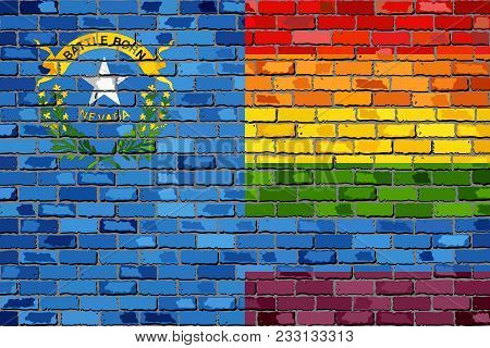 Brick Wall Nevada And Gay Flags - Illustration, Rainbow Flag On Brick Textured Background,  Abstract