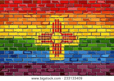 Brick Wall New Mexico And Gay Flags - Illustration, Rainbow Flag On Brick Textured Background,  Abst