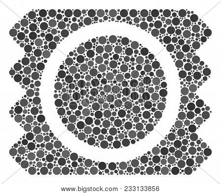 Condom Package Mosaic Of Round Dots In Various Sizes And Color Tinges. Circle Dots Are United Into C