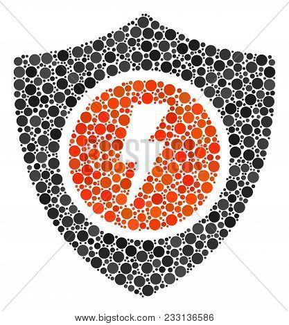 Electric Guard Mosaic Of Dots In Variable Sizes And Color Tints. Filled Circles Are United Into Elec