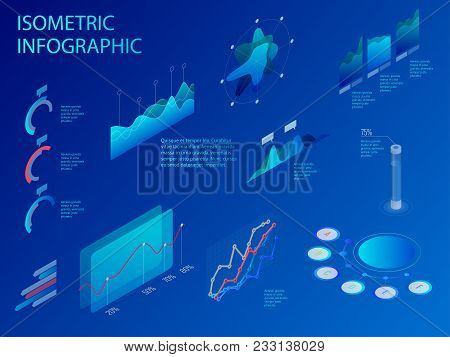 Flat Isometric Infographic For Your Business Presentations. Set Of Infographics With Data Financial