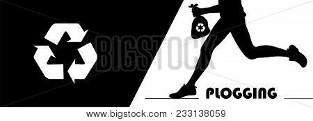 Plogging Concept. A Human Silhouette Running And Holding A Litter Trash Bag With Recycle Symbol. Plo