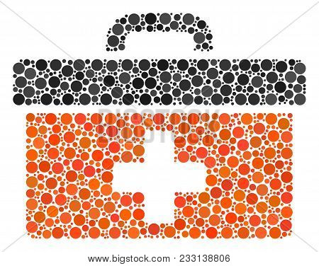 First Aid Toolbox Composition Of Filled Circles In Variable Sizes And Color Tones. Dots Are Combined