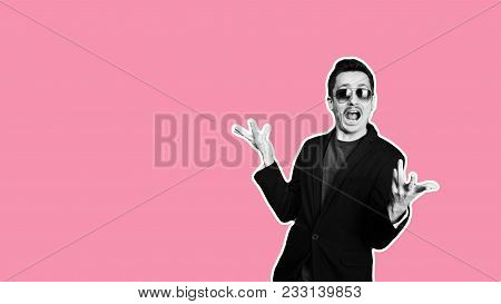 Collage In Magazine Style With Colorful Emotional Fashion Crazy Hipster Guy. Salesman With Moustache