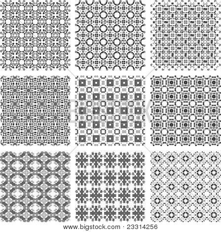 Set of monochrome geometrical patterns background texture