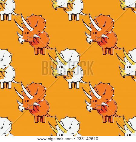 Dinasaur Seamless Pattern. Original Design For Print Or Digital Media.