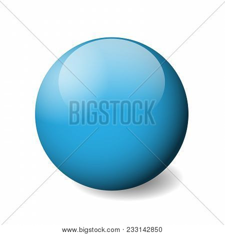 Blue Glossy Sphere, Ball Or Orb. 3d Vector Object With Dropped Shadow On White Background.