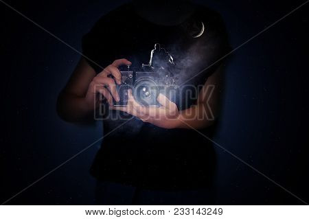 Concept Of Photographer's Vision Mist Coming Out Of A Camera, Stars In The Dark Sky, Couple Enjoying