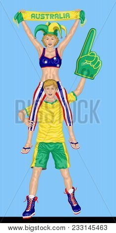 Australian Fans Supporting Australia Team With Scarf And Foam Finger. All The Objects Are In Differe