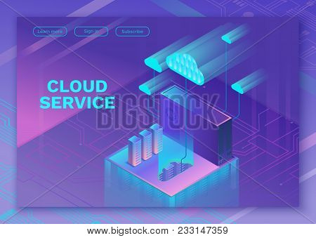 Cloud Service 3d Isometric Infographic Illustration With Man, Landing Page Layout, Vector Web Templa