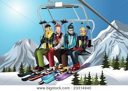 Skiers On The Ski Lift