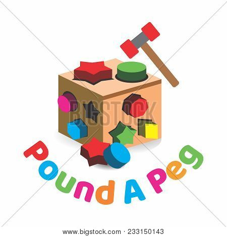 Vector Conceptual Wooden 3 Dimension Bench Toy Box, Peg Box, With Hammer Pound A Peg Into Holes