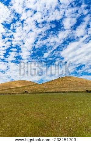 Picturesque Landscape Of Vast Hills And Sky On Sunny Day. South Australia