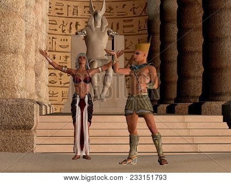 Egyptian Couple In Temple 3d Illustration - The Egyptian Pharaoh And His Wife Worship And Pray To Th