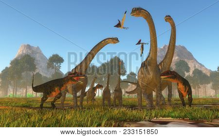 Mapusaurus Dinosaur Attack 3d Illustration - Three Predatory Mapusaurus Dinosaurs Surround A Herd Of