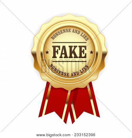 Fake Rosette - Golden Seal With Inscription Fake, Falsification Concept