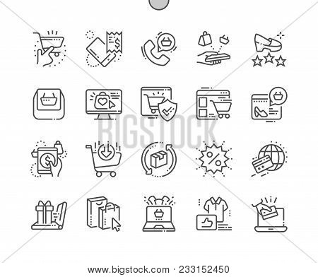 E-commerce Well-crafted Pixel Perfect Vector Thin Line Icons 30 2x Grid For Web Graphics And Apps. S