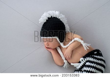 Ten Day Old, Sleeping, Baby Boy Wearing A Crocheted, Black And White, Punk Rock Inspired, Mohawk Bea