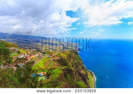 Beautiful Panorama Over Madeira Island From Cabo Girao View Point In Portugal, Europe