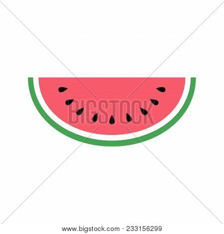 Watermelon Icon, Simple Design, Watermelon Icon Clip Art. Clipart Cartoon Fruit Icon.