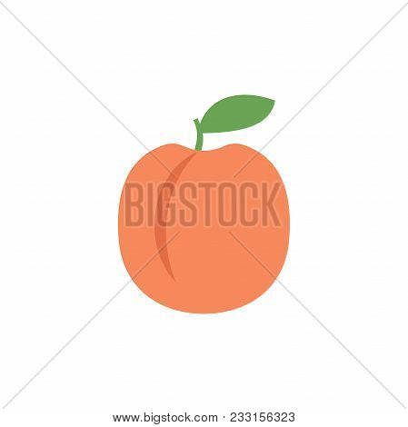 Peach Icon, Simple Design, Peach Icon Clip Art. Clipart Cartoon Fruit Icon.
