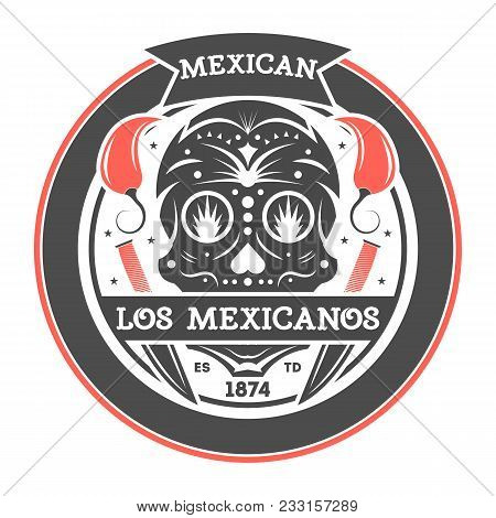 Los Amigos Vintage Isolated Label With Mexican Skull. Traditional Authentic Mexican Culture Element,
