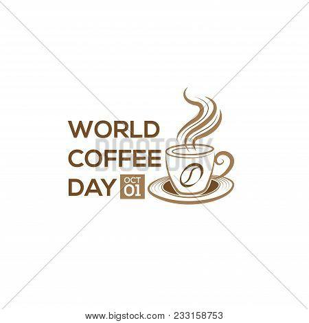 1 October International Coffee Day Logo. World Coffee Day Logo Icon Vector Illustration On White Bac
