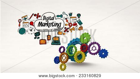 Digital composite of Digital composite image of gears by digital marketing sign surrounded by icons