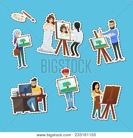 Artists Painting And Showing Artworks Labels Isolated On Blue Background. Student In Art Workshop, P
