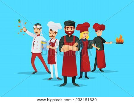Professional Chef Teaching Concept With Cook Characters. Cute Chef Team In Red Cooking Uniform And H