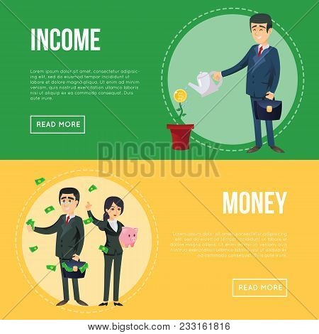 Income Money Flyers With Successful Businessmen. Man In Business Suit Watering Money Flower And Youn