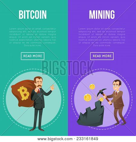 Cryptocurrency And Blockchain Technology Flyers. Happy Businessman With Big Money Bag And Miner With