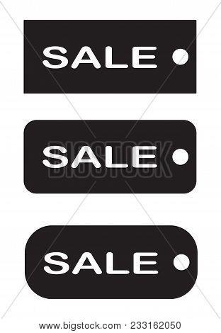 Tags Sale On White Background. Black Tag Sale Sign. Flst Style. Set Tags Sale Symbol.
