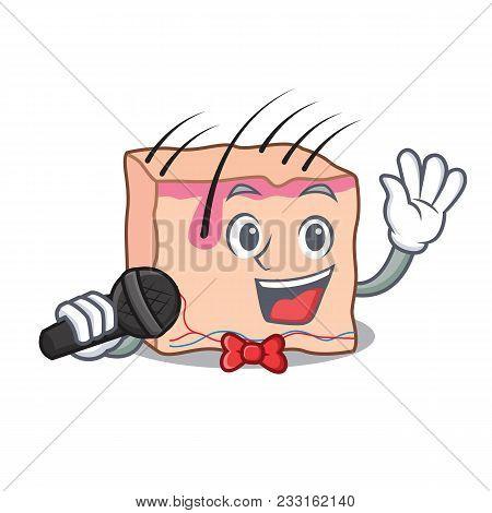 Singing Skin Mascot Cartoon Style Vector Illustration
