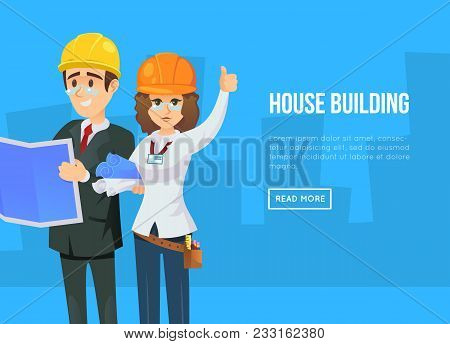 House Building Concept With Architects In Business Suits And Safety Helmets With Blueprints. Profess