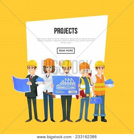 Architecture Company Banner With Worker Team In Safety Helmets. Engineer With Blueprint, Architect,