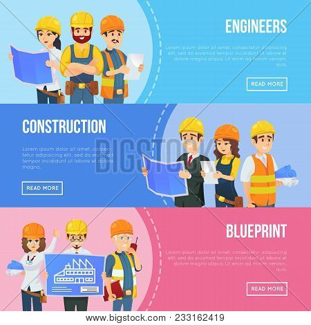 Professional Engineering And Construction Concept With Worker Team In Uniform And Safety Helmets. In
