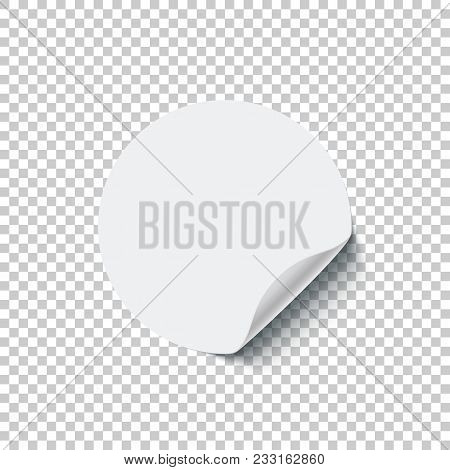 Round White Blank Sticker With Curled Edge Isolated On Transparent Background. Vector Design Element