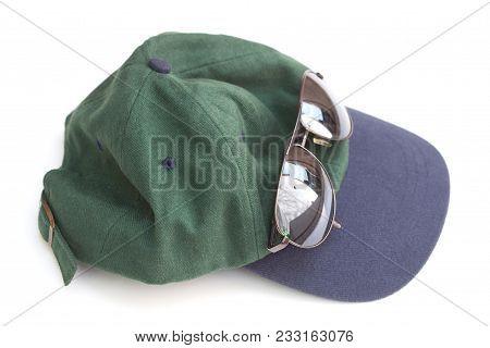 Blue And Green Baseball Hat And Dark Brown Reflective Sunglasses, On White
