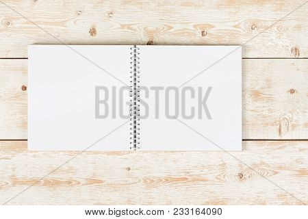 Notebook On The Table. Open Notebook. Design Mockup