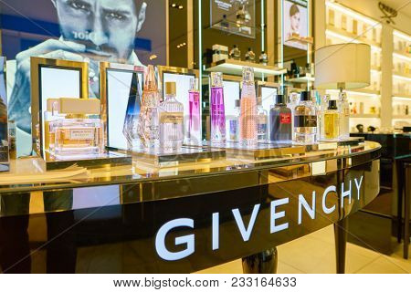 MILAN, ITALY - CIRCA NOVEMBER, 2017: close up shot of perfumes on display at Rinascente. Rinascente is a collection of high-end stores.