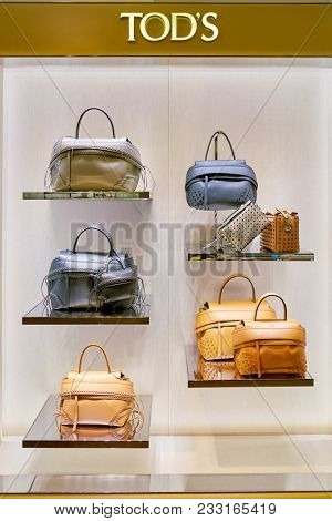 MILAN, ITALY - CIRCA NOVEMBER, 2017: TOD'S bags on display at Rinascente. Rinascente is a collection of high-end stores.