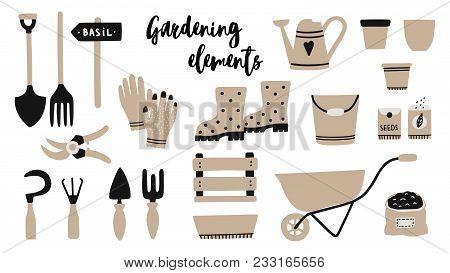 Vector Illustration Of Garden Tool Elements : Spade, Fork, Wheelbarrow, Watering Can, Garden Gloves,